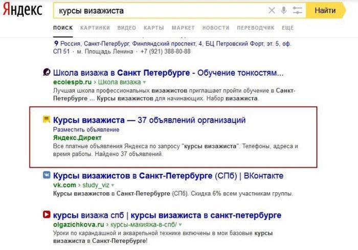 тестирование поиска по объявлениям контекстной рекламы